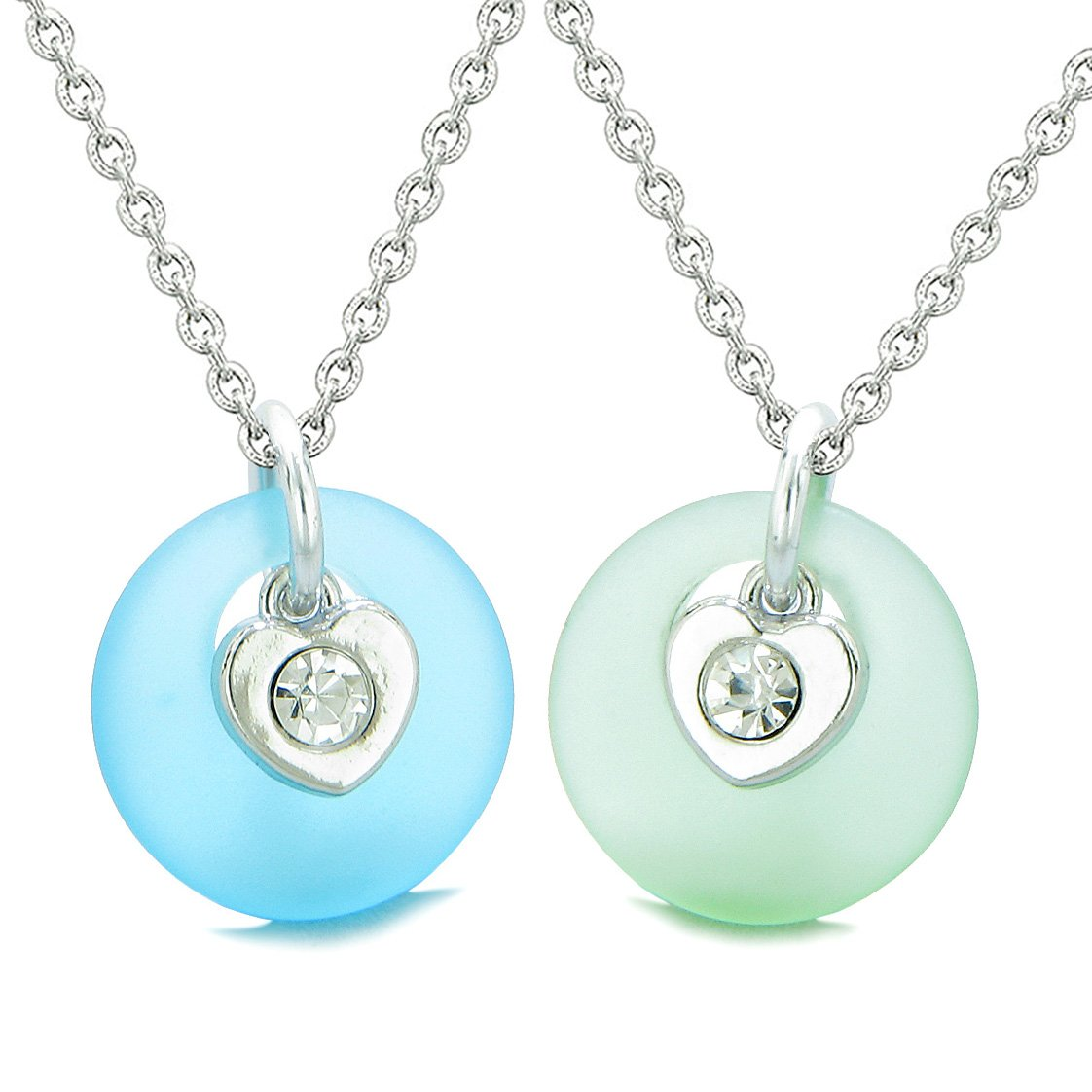 Sea Glass Lucky Donut Crystal Heart Charm Sky Blue Mint Green Love Couples BFF Set Amulet Necklaces
