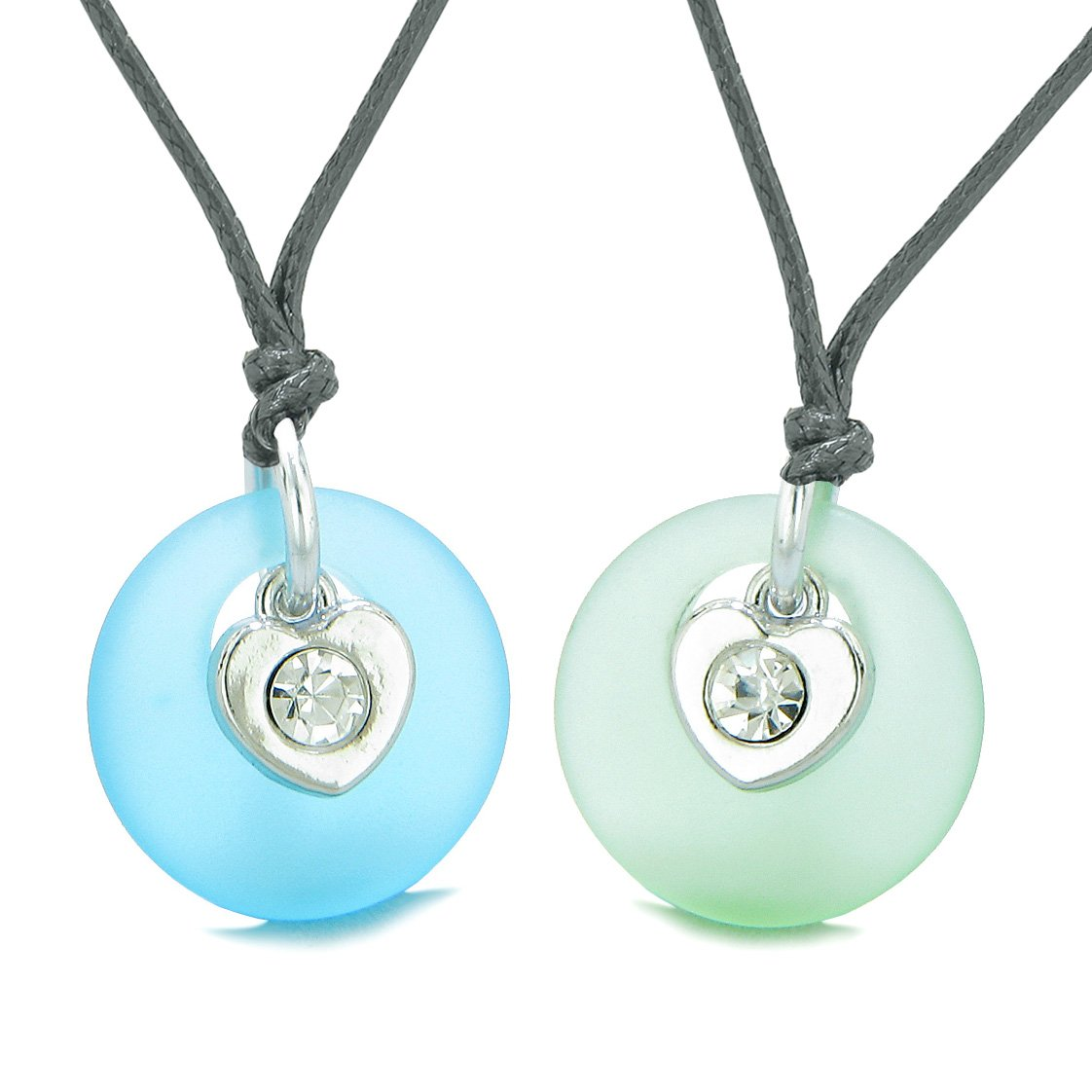 Sea Glass Lucky Donut Crystal Heart Charm Mint Green Sky Blue Love Couples BFF Set Amulet Necklaces