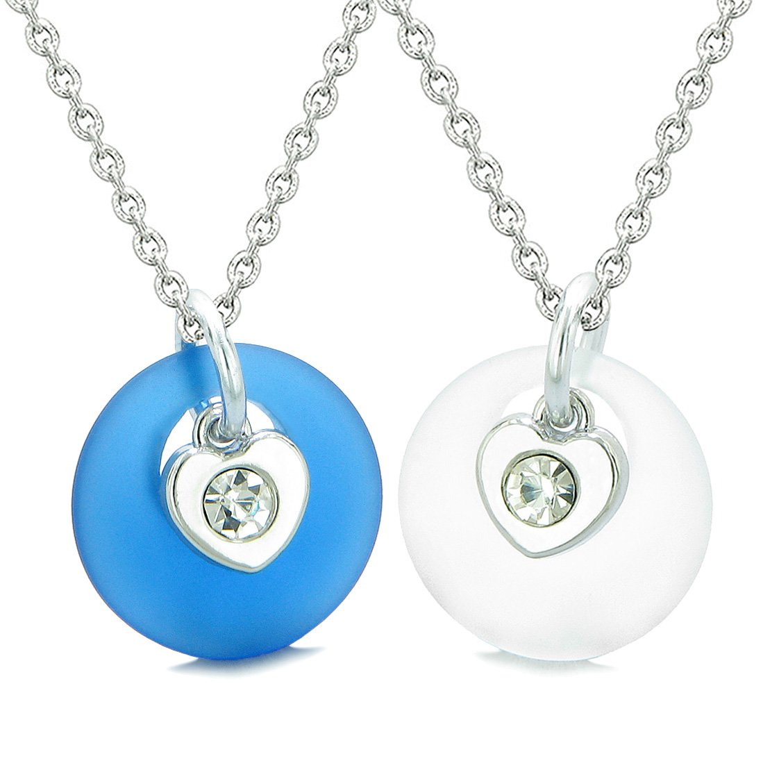 Sea Glass Lucky Donut Crystal Heart Charm Ocean Blue Mist White Love Couples BFF Set Amulet Necklaces