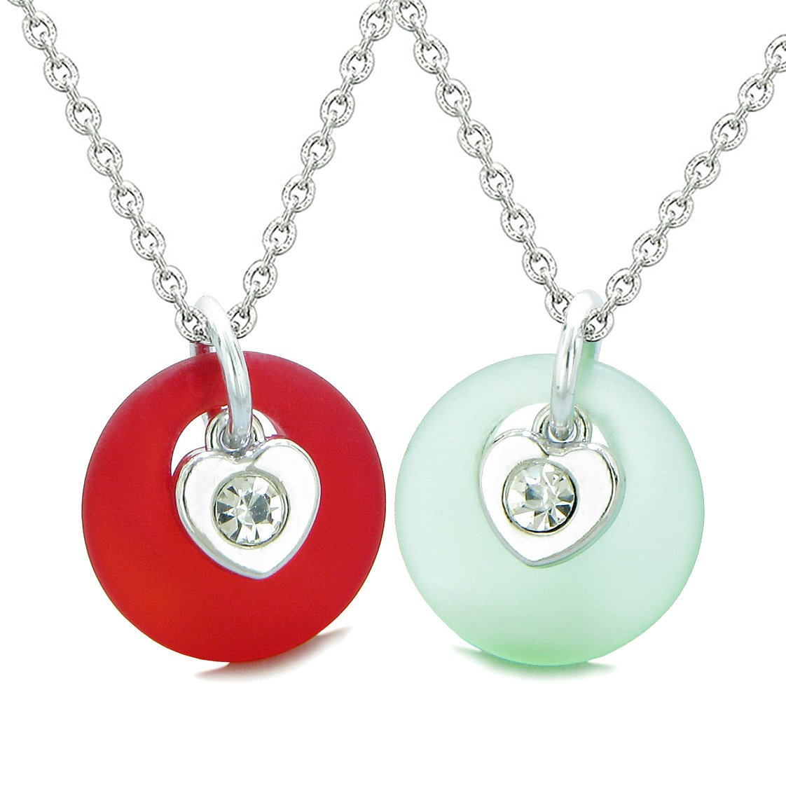 Sea Glass Lucky Donut Crystal Heart Charm Mint Green Royal Red Love Couples BFF Set Amulet Necklaces