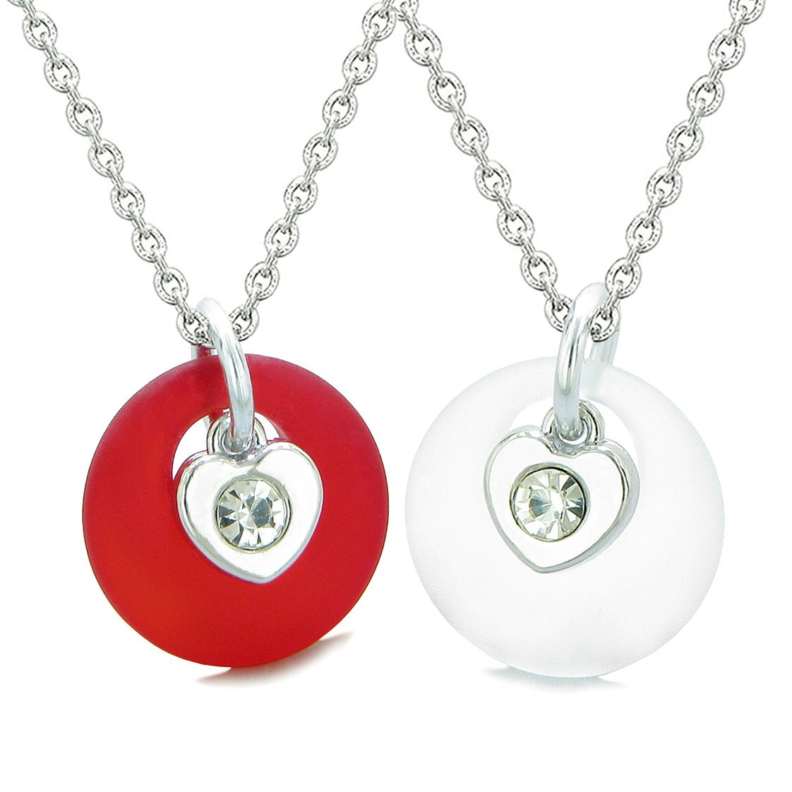 Sea Glass Lucky Donut Crystal Heart Charm Royal Red Mist White Love Couples BFF Set Amulet Necklaces