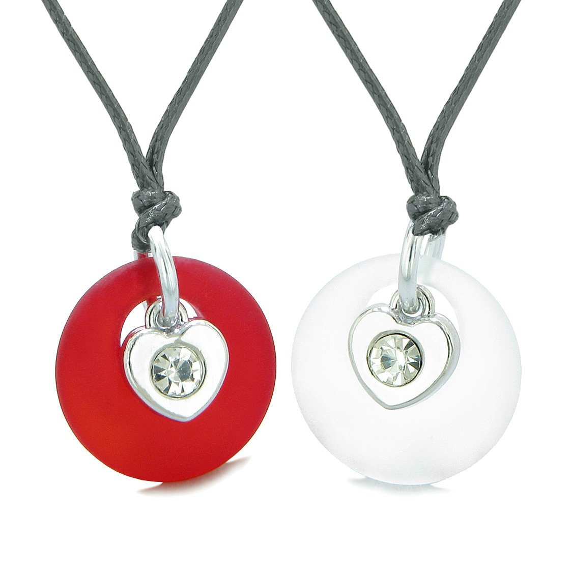 Sea Glass Lucky Donut Crystal Heart Charm Mist White Royal Red Love Couples BFF Set Amulet Necklaces