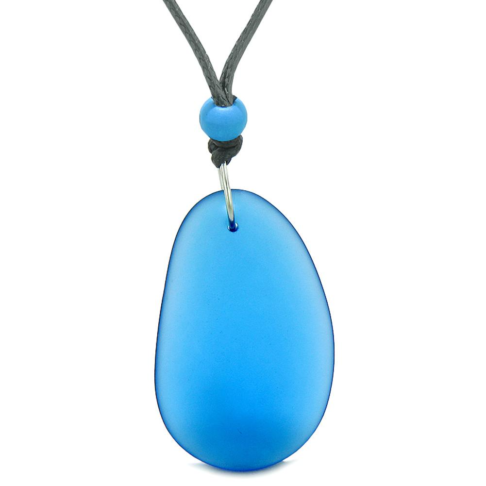 Large Ocean Blue Frosted Sea Glass Puffy Water Drop Positive Energy Amulet Pendant Adjustable Necklace