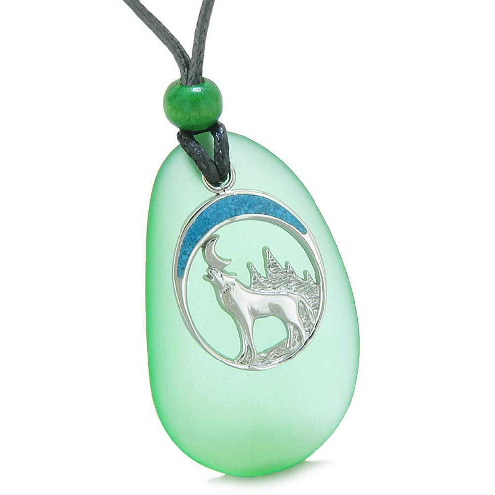 Large Mint Green Frosted Sea Glass Howling Wolf Protection Amulet Puffy Water Drop Adjustable Necklace