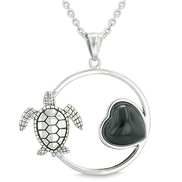 Amulet Cute Sea Turtle Magic Circle Heart Medallion Positive Powers Faux Onyx Pendant Necklace