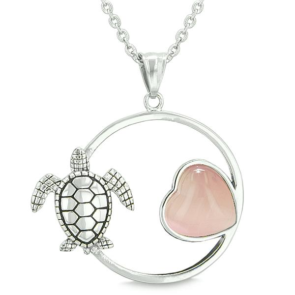 Amulet Cute Sea Turtle Magic Circle Heart Medallion Positive Powers Pink Cat's Eye Necklace