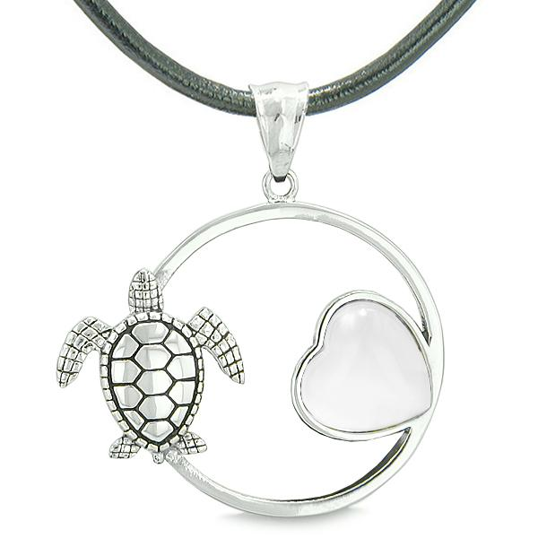 Amulet Cute Sea Turtle Magic Circle Heart Medallion Positive Powers White Cats Eye Necklace