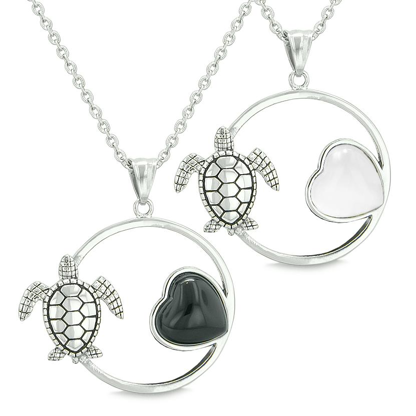 Amulets Cute Sea Turtles Love Couples Best Friends Set Magic Heart Onyx White Cats Eye Necklaces