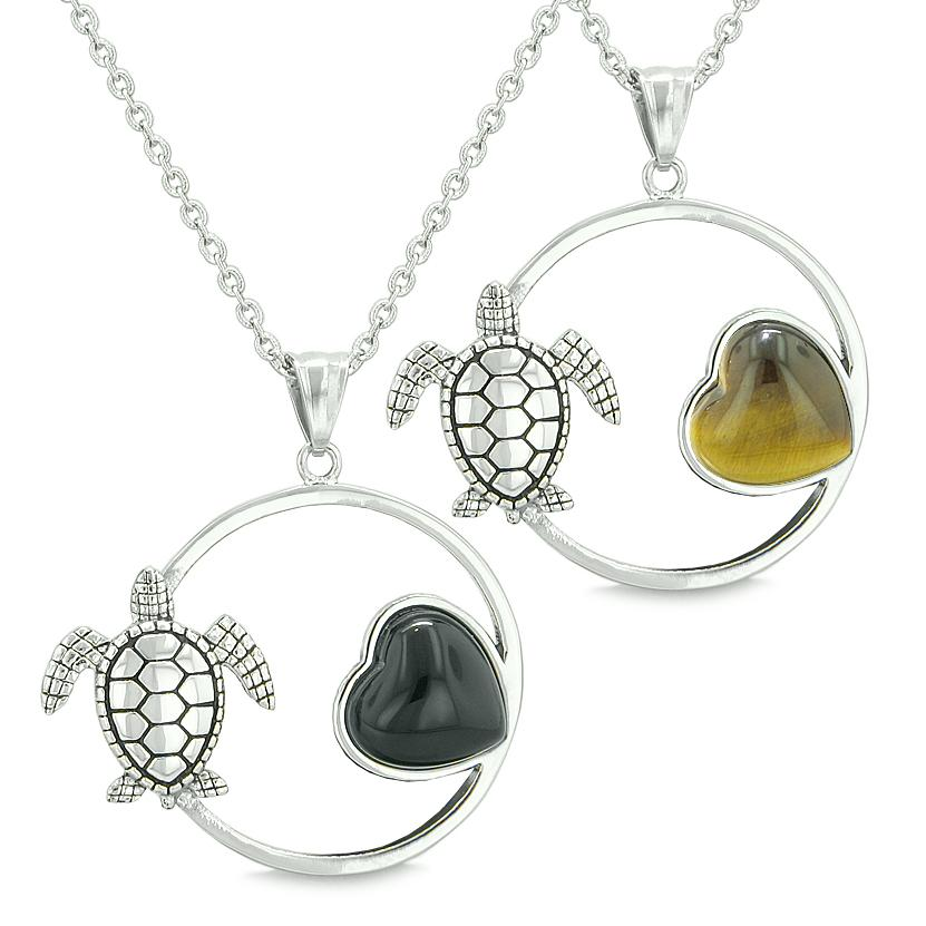 Amulets Cute Sea Turtles Love Couples Best Friends Set Magic Circle Heart Onyx Tiger Eye Necklaces