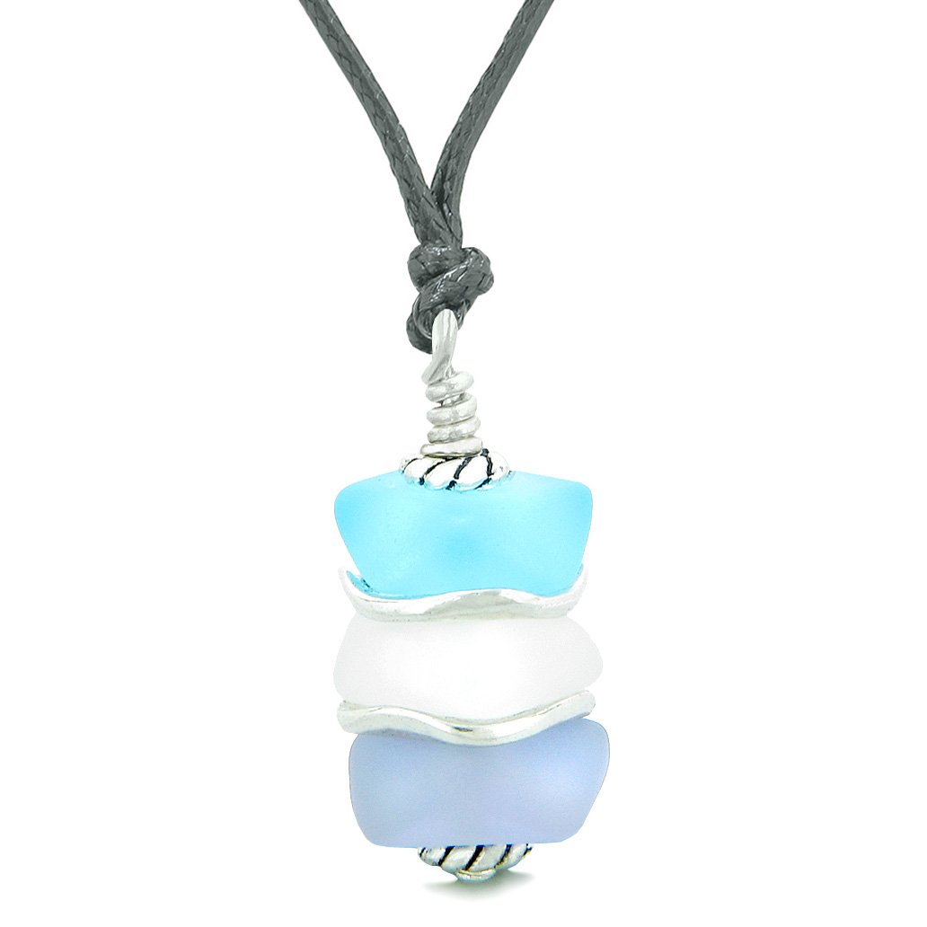Sea Glass Icy Frosted Waves Sky Blue Mist White Purple Positive Powers Amulet Pendant Adjustable Necklace