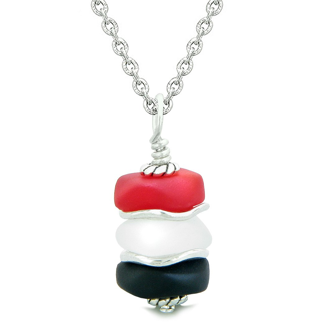 Sea Glass Icy Frosted Waves Black Mist White Royal Red Positive Powers Amulet Pendant 18 Inch Necklace