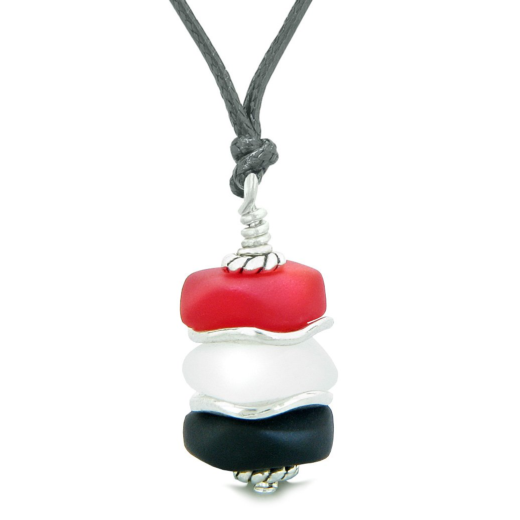 Sea Glass Icy Frosted Waves Black Mist White Royal Red Positive Powers Amulet Pendant Adjustable Necklace