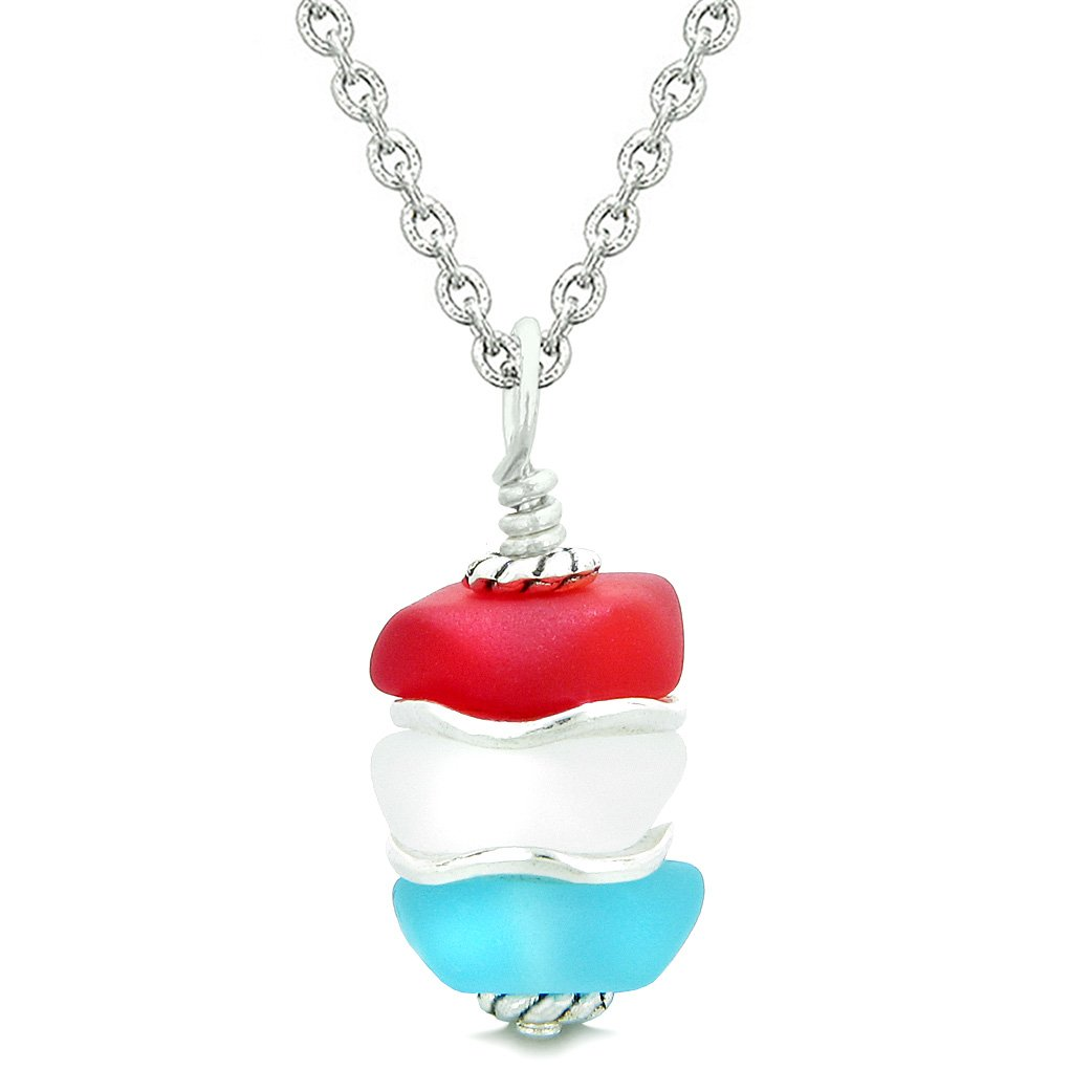 Sea Glass Icy Frosted Waves Mist White Red Sky Blue Positive Powers Amulet Pendant 22 Inch Necklace
