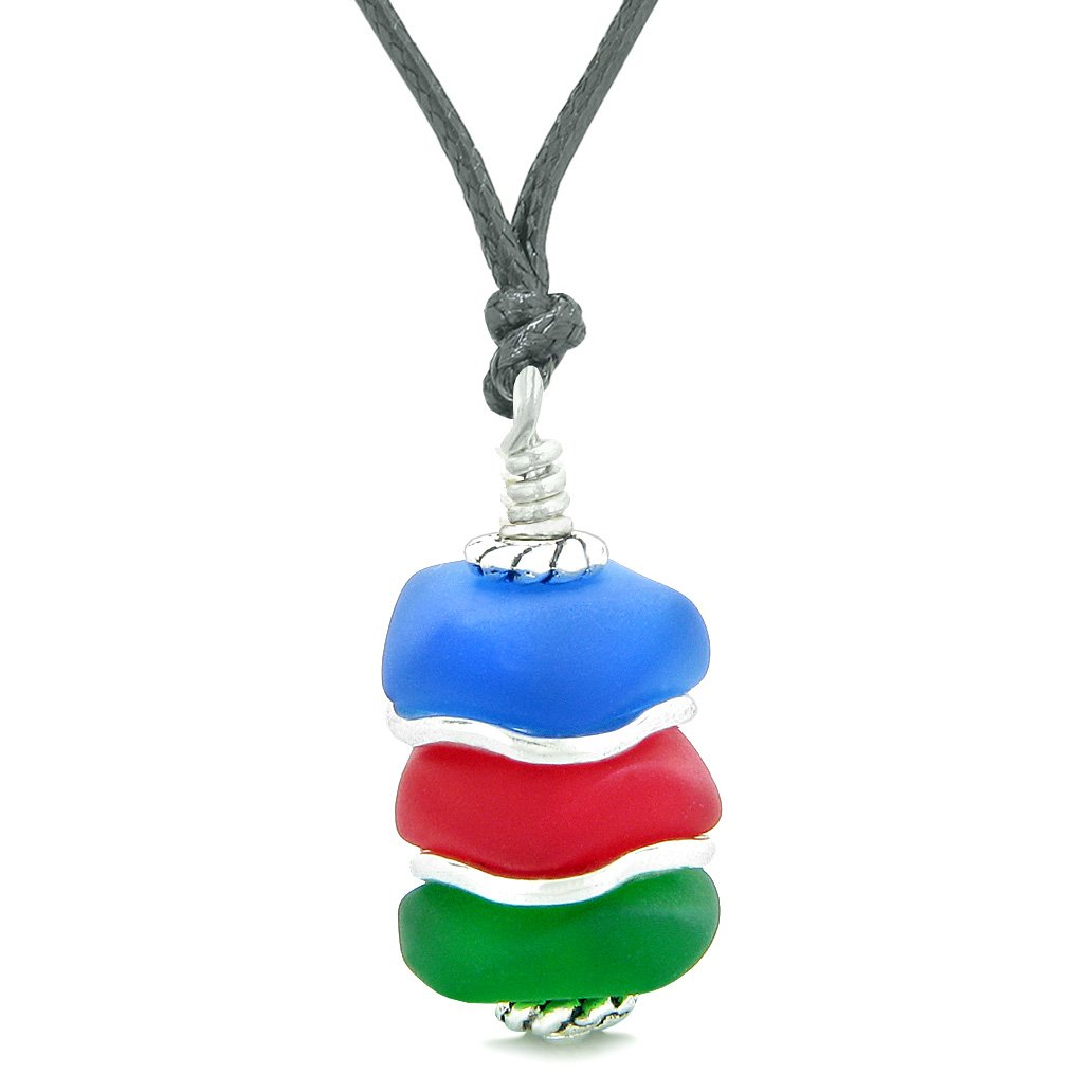 Sea Glass Icy Frosted Waves Ocean Blue Royal Red Green Positive Powers Amulet Pendant Adjustable Necklace