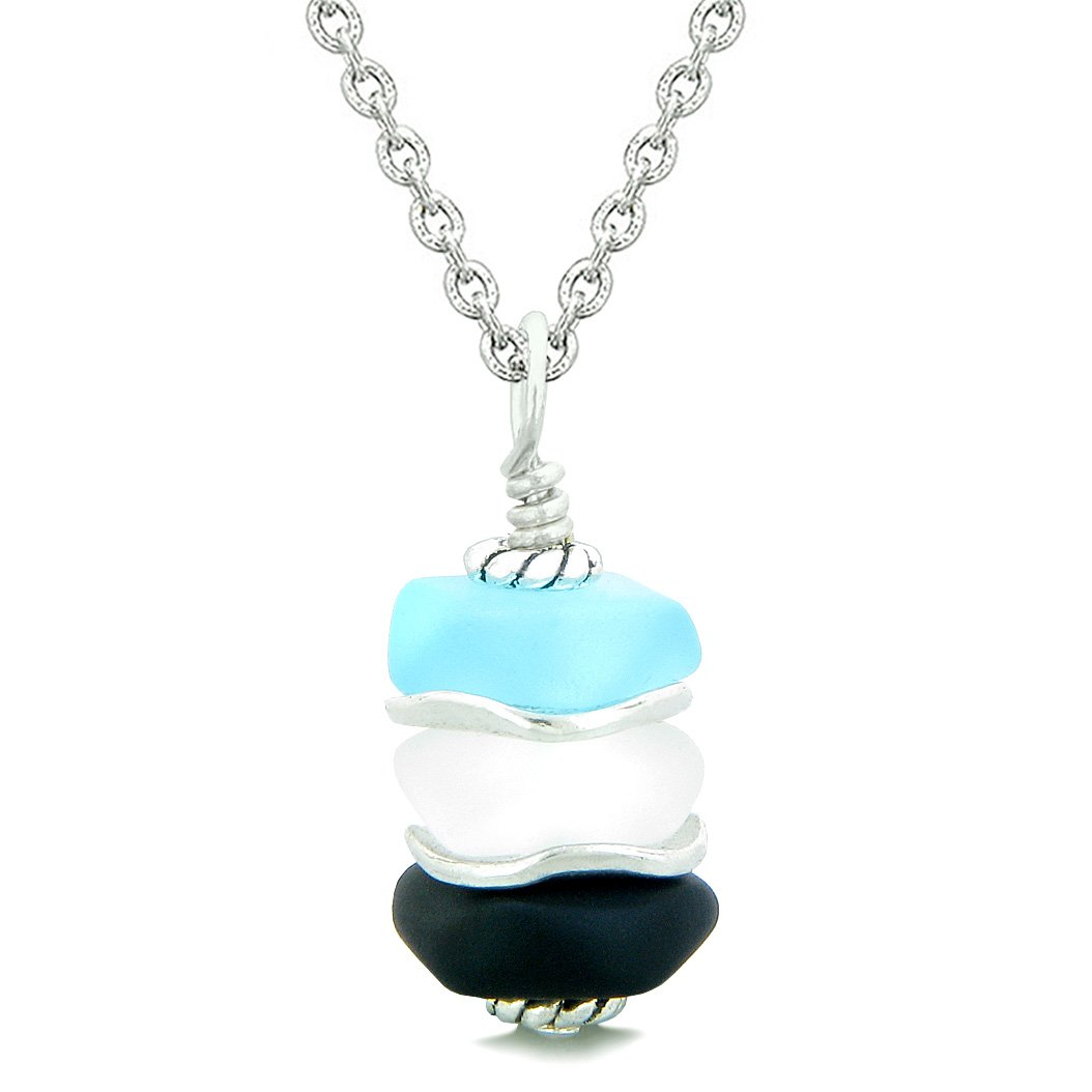 Sea Glass Icy Frosted Waves Black Sky Blue Mist White Positive Powers Amulet Pendant 18 Inch Necklace