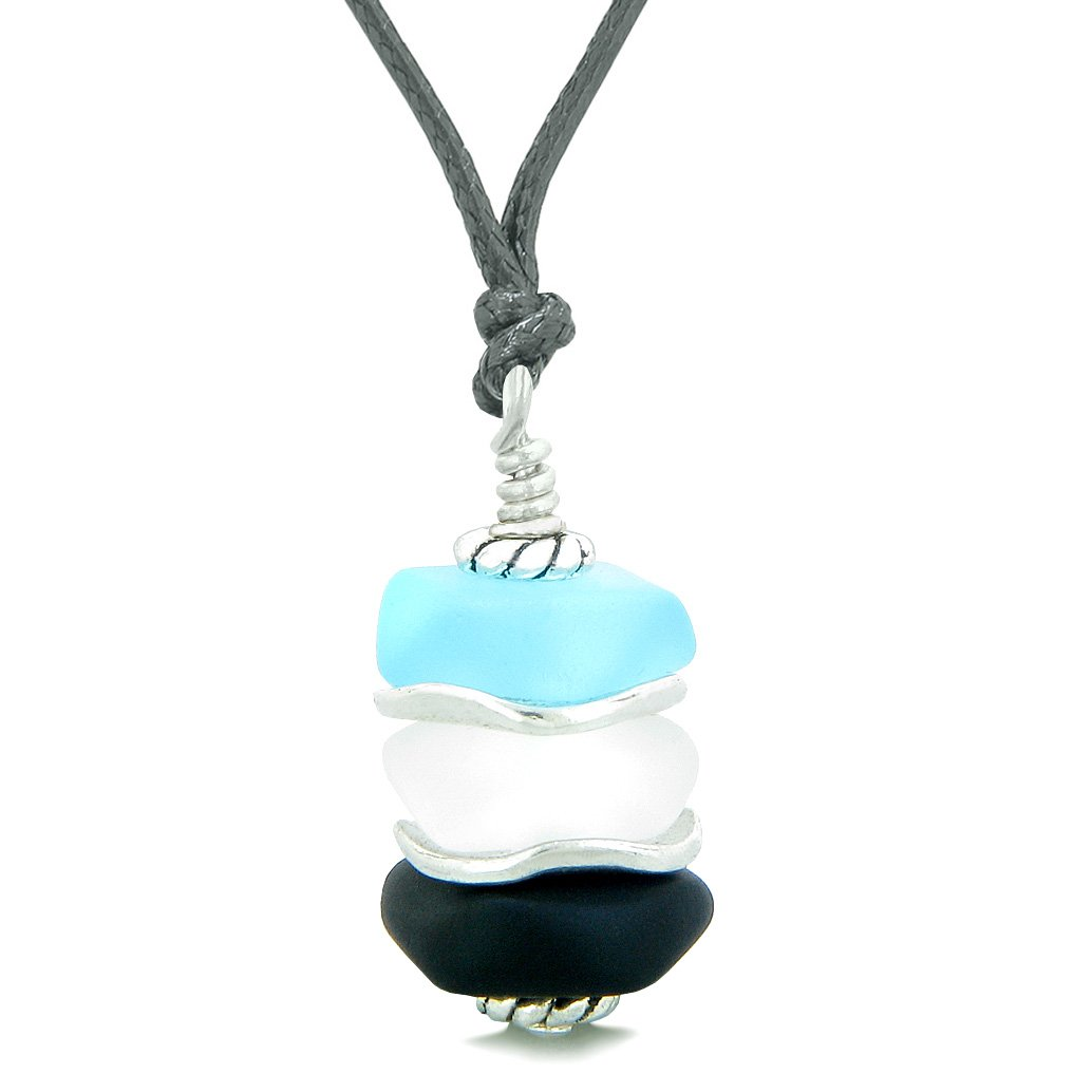Sea Glass Icy Frosted Waves Black Sky Blue Mist White Positive Powers Amulet Pendant Adjustable Necklace