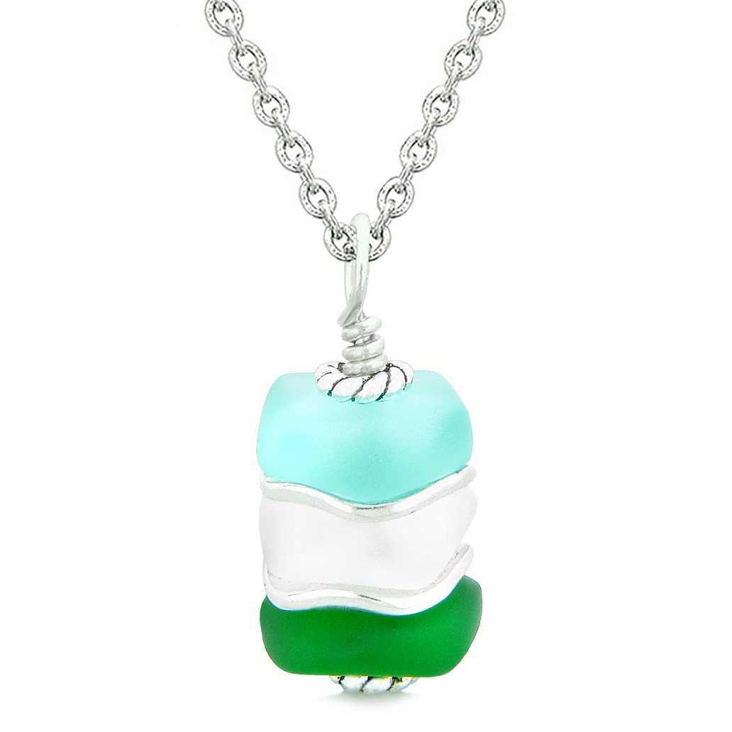 Sea Glass Icy Frosted Waves Green Aqua Blue Mist White Positive Powers Amulet Pendant 18 Inch Necklace