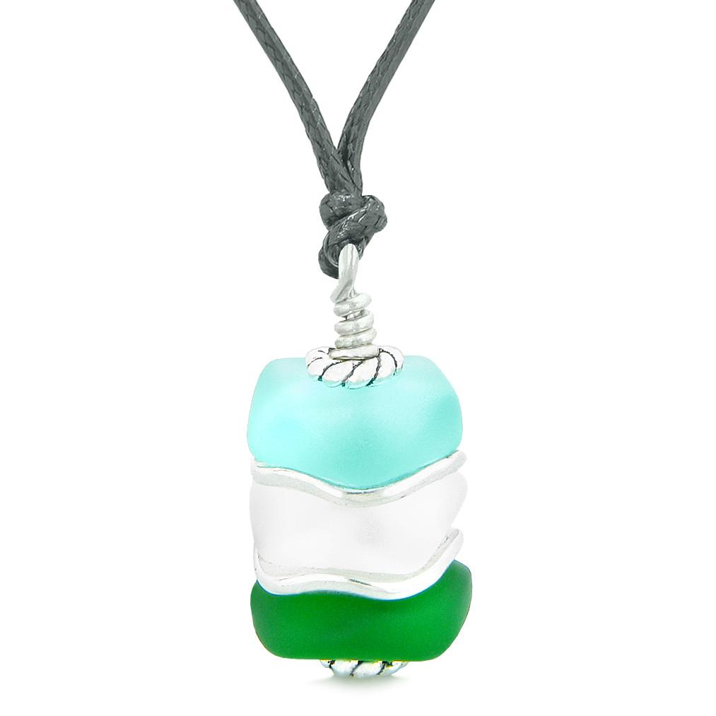 Sea Glass Icy Frosted Waves Green Aqua Blue Mist White Positive Powers Amulet Pendant Adjustable Necklace