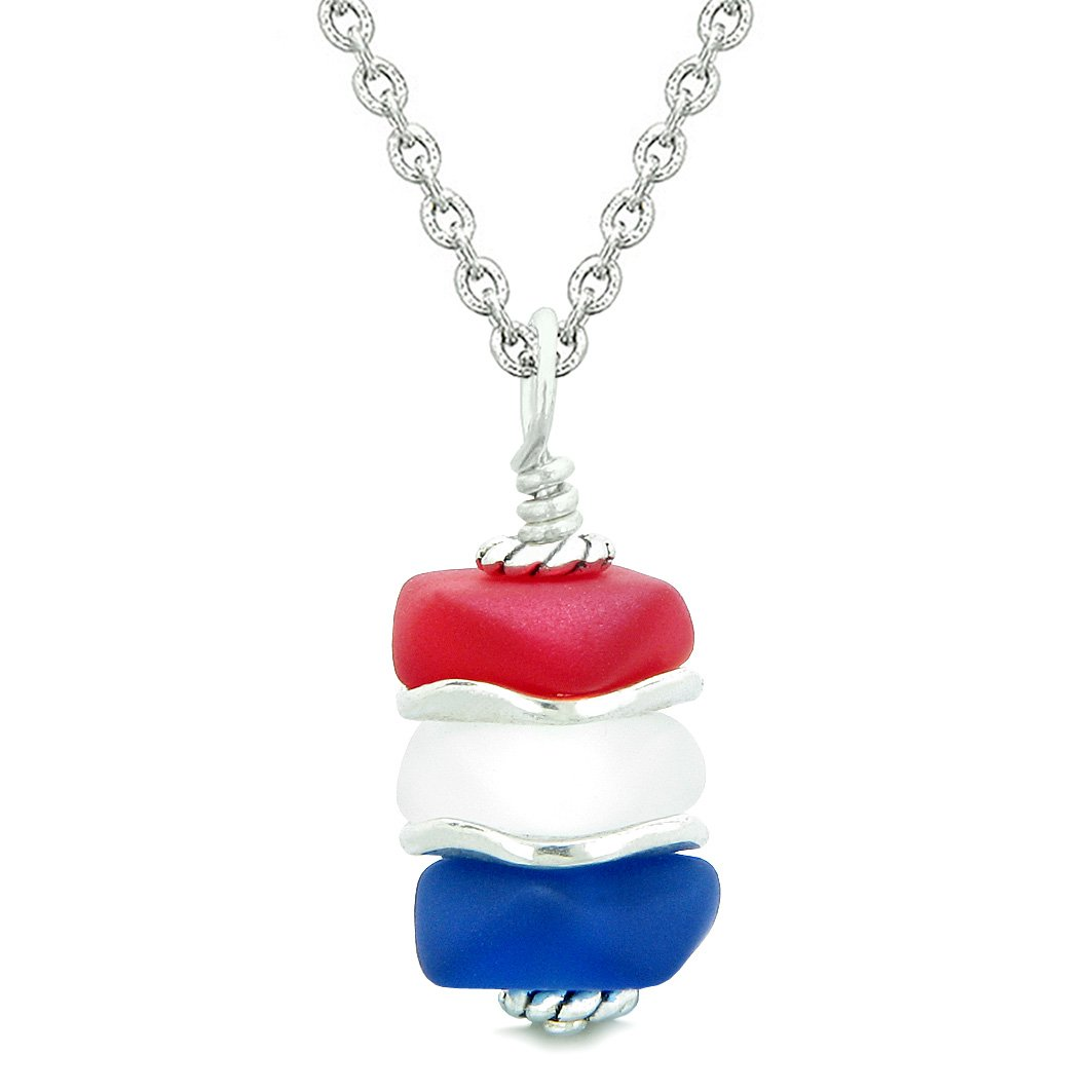 Sea Glass Icy Frosted Waves Ocean Blue Red Mist White Positive Powers Amulet Pendant 18 Inch Necklace