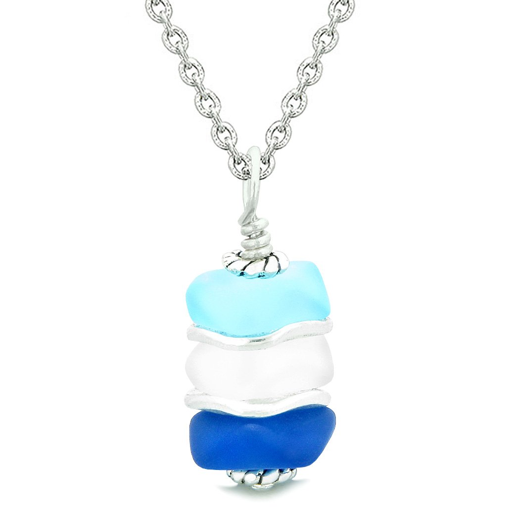 Sea Glass Icy Frosted Waves Mist White Ocean Sky Blue Positive Powers Amulet Pendant 18 Inch Necklace
