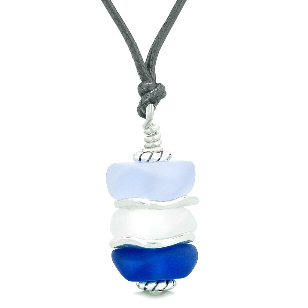 Sea Glass Icy Frosted Waves White Purple Ocean Blue Positive Powers Amulet Pendant Adjustable Necklace