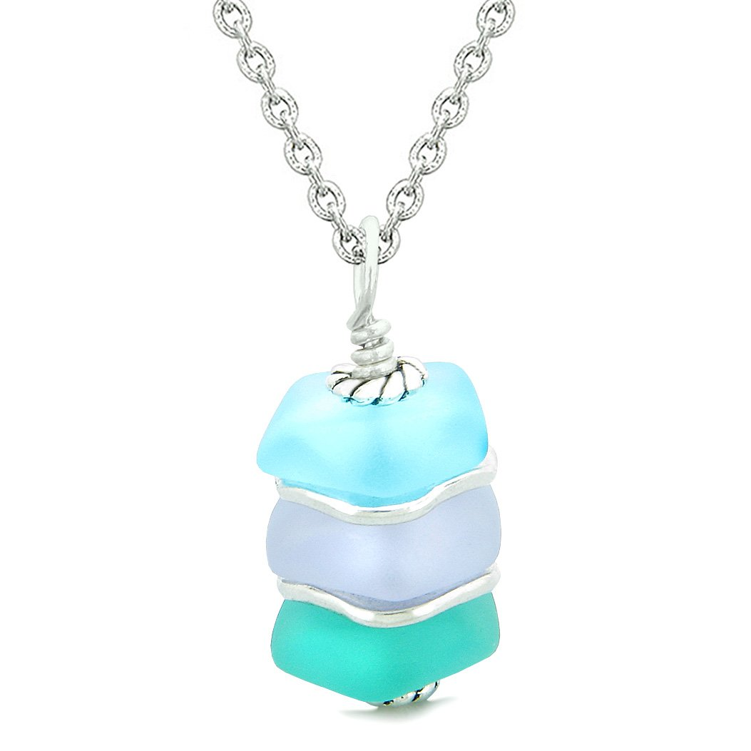 Sea Glass Icy Frosted Waves Purple Aqua Sky Blue Positive Powers Amulet Pendant 18 Inch Necklace