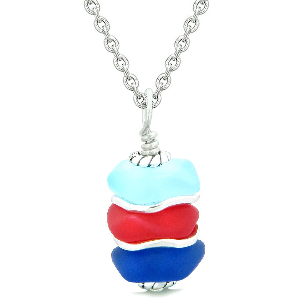 Sea Glass Icy Frosted Waves Royal Red Sky Ocean Blue Positive Powers Amulet Pendant 18 Inch Necklace