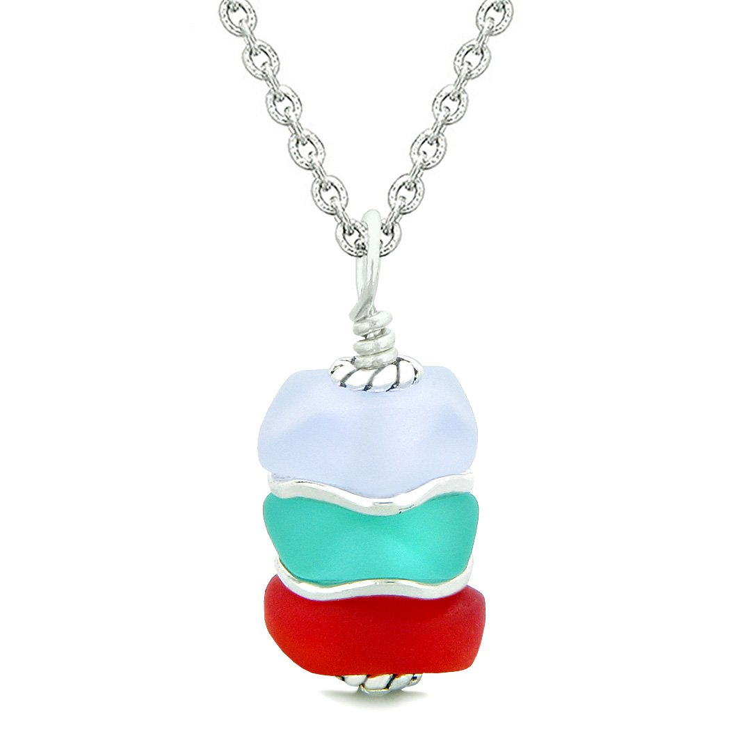 Sea Glass Icy Frosted Waves Aqua Blue Purple Royal Red Positive Powers Amulet Pendant 18 Inch Necklace