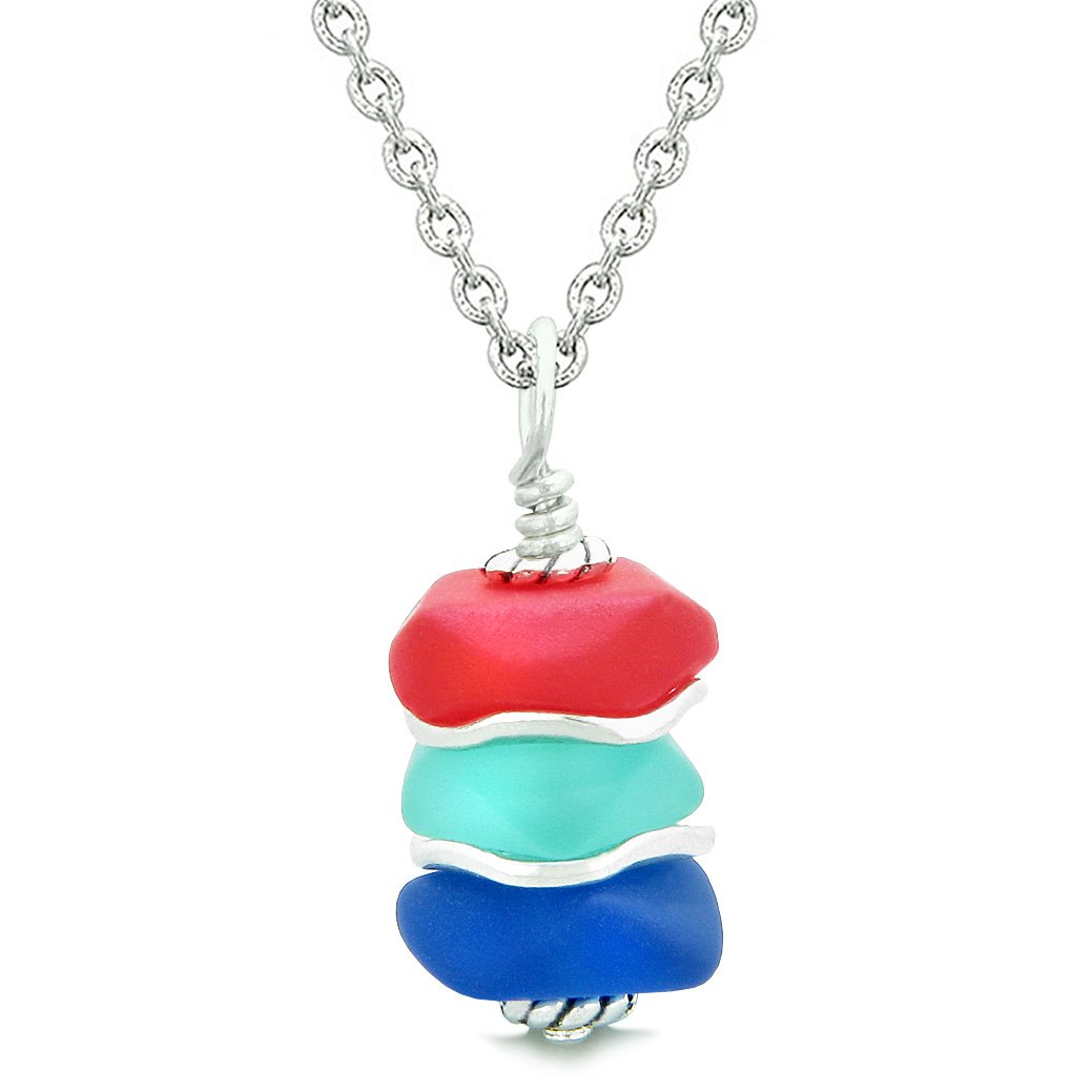 Sea Glass Icy Frosted Waves Royal Red Aqua Ocean Blue Positive Powers Amulet Pendant 18 Inch Necklace