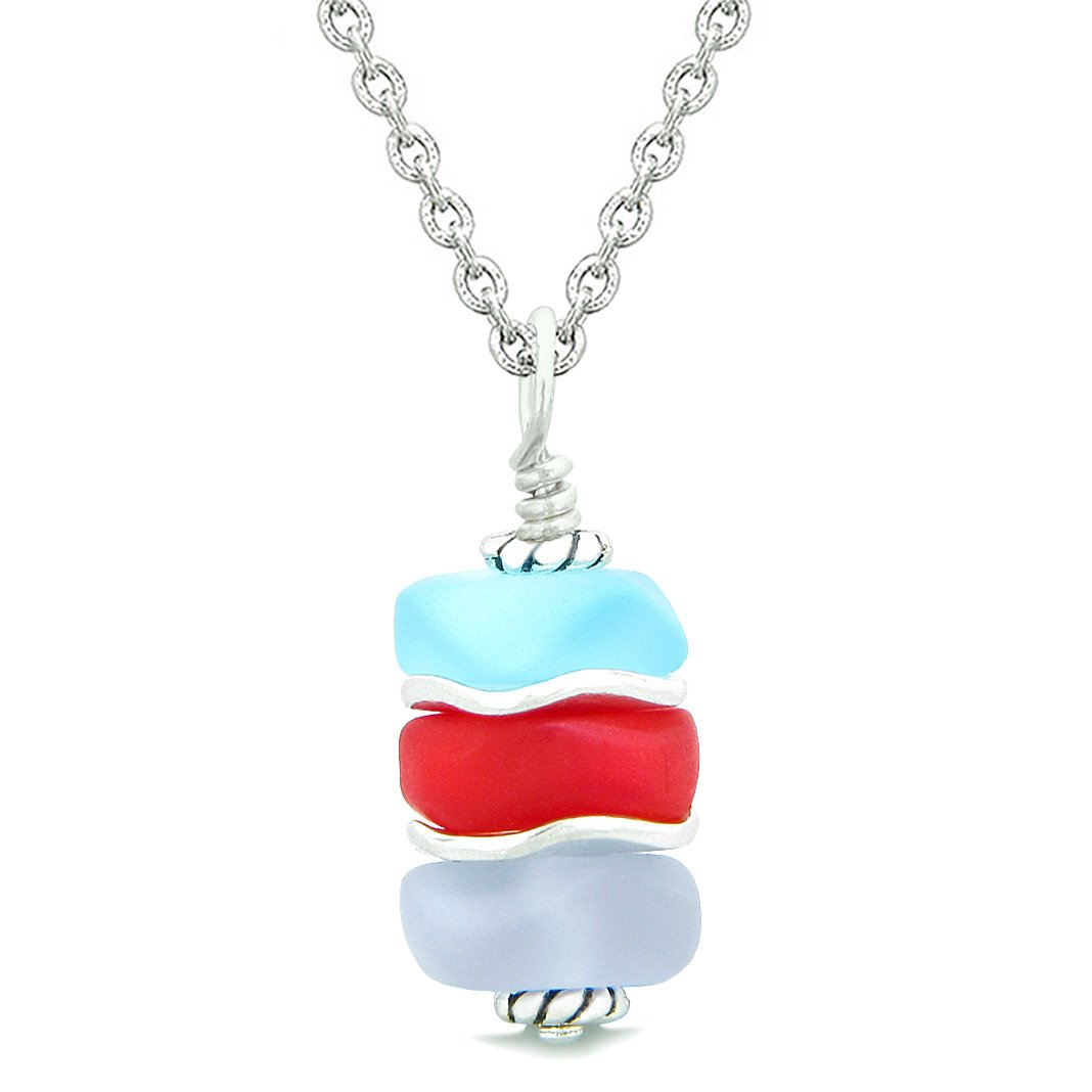 Sea Glass Icy Frosted Waves Royal Red Sky Blue Purple Positive Powers Amulet Pendant 18 Inch Necklace
