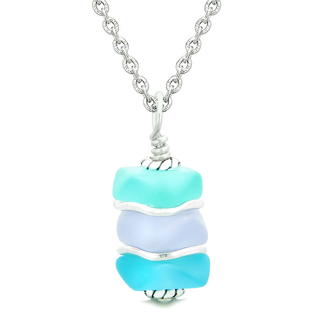 Sea Glass Icy Frosted Waves Sky Aqua Blue Purple Positive Powers Amulet Pendant 18 Inch Necklace