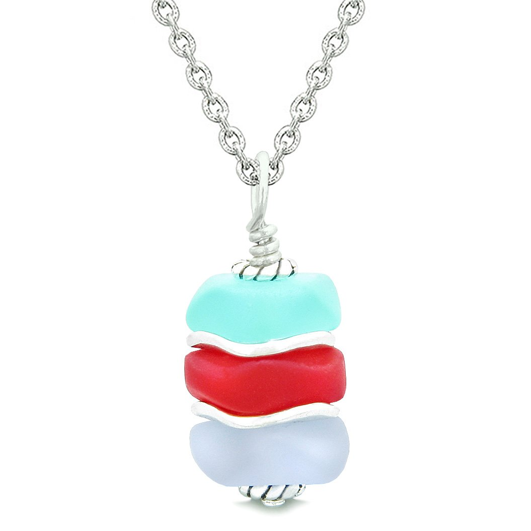 Sea Glass Icy Frosted Waves Aqua Blue Royal Red Purple Positive Powers Amulet Pendant 22 Inch Necklace