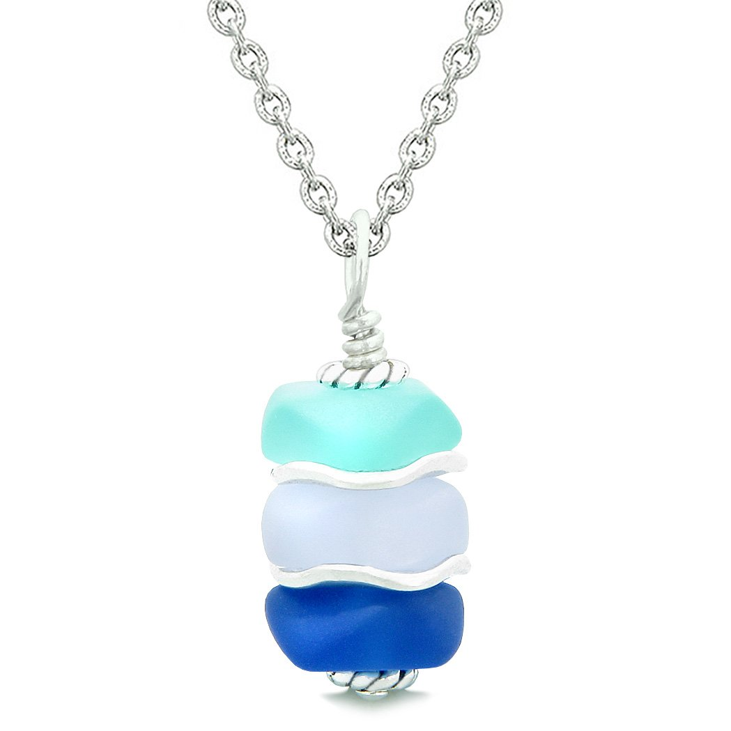 Sea Glass Icy Frosted Waves Ocean Aqua Blue Purple Positive Powers Amulet Pendant 22 Inch Necklace