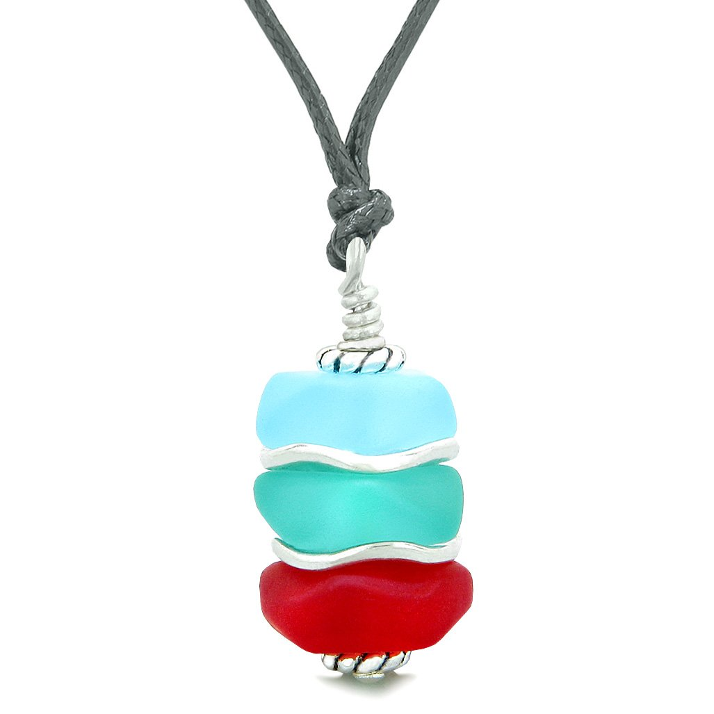 Sea Glass Icy Frosted Waves Sky Aqua Blue Royal Red Positive Powers Amulet Pendant Adjustable Necklace
