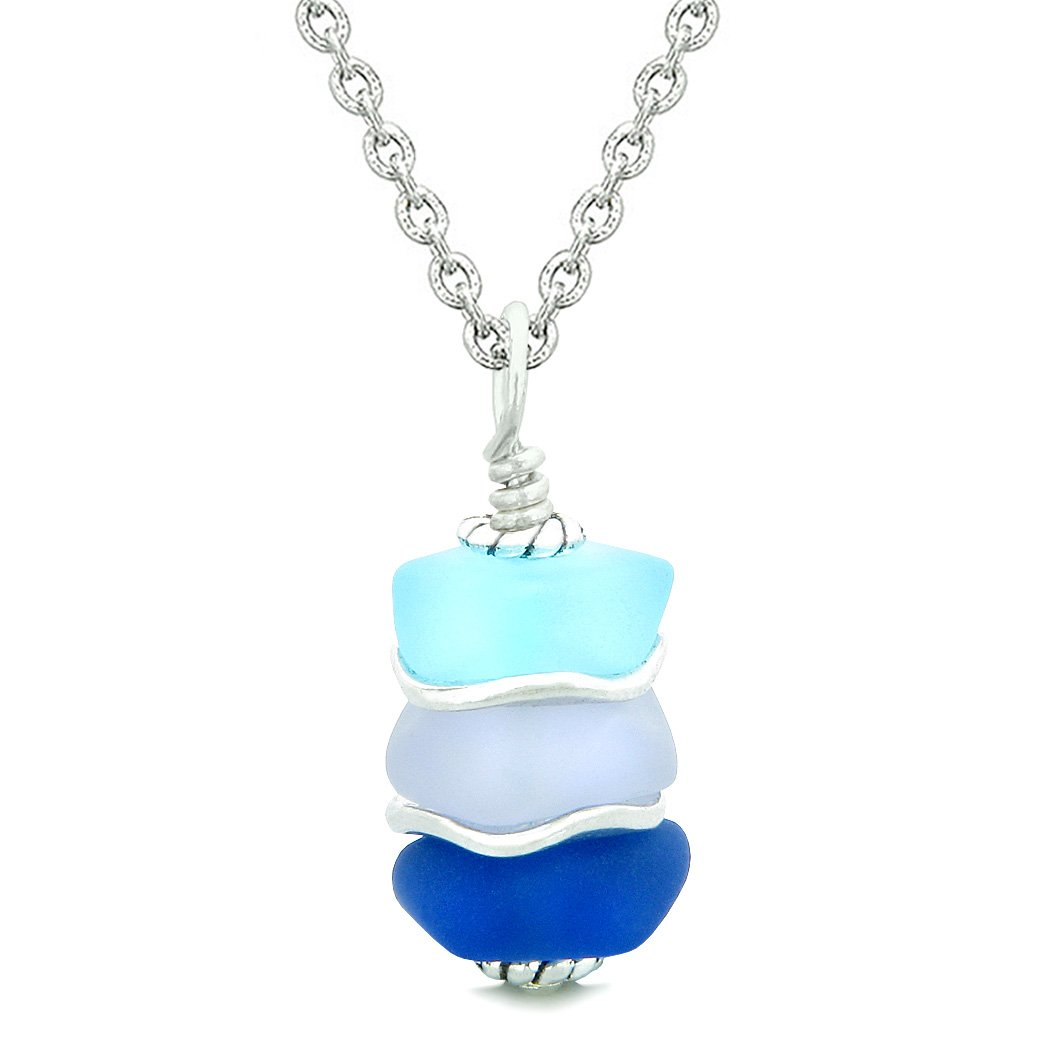 Sea Glass Icy Frosted Waves Ocean Sky Blue Purple Positive Powers Amulet Pendant 22 Inch Necklace