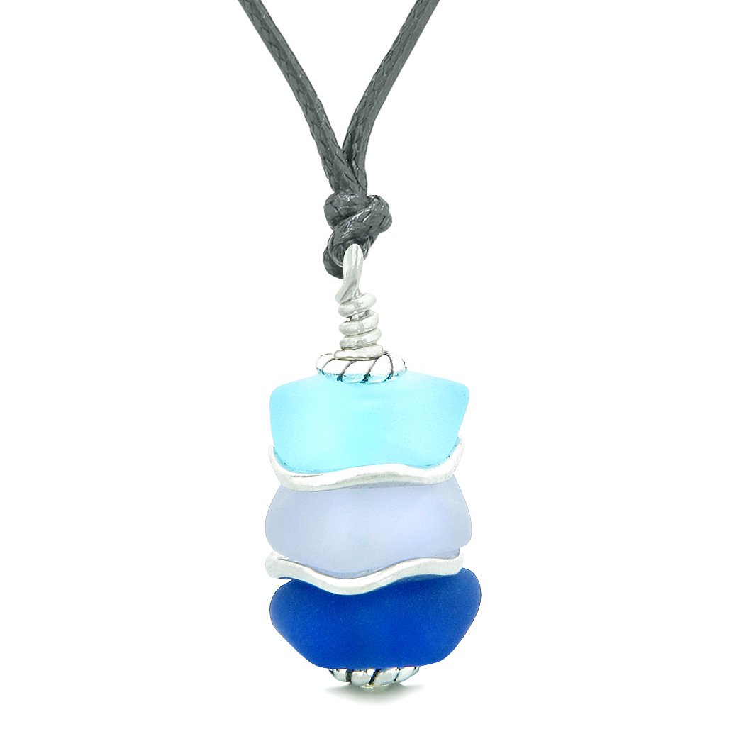 Sea Glass Icy Frosted Waves Ocean Sky Blue Purple Positive Powers Amulet Pendant Adjustable Necklace