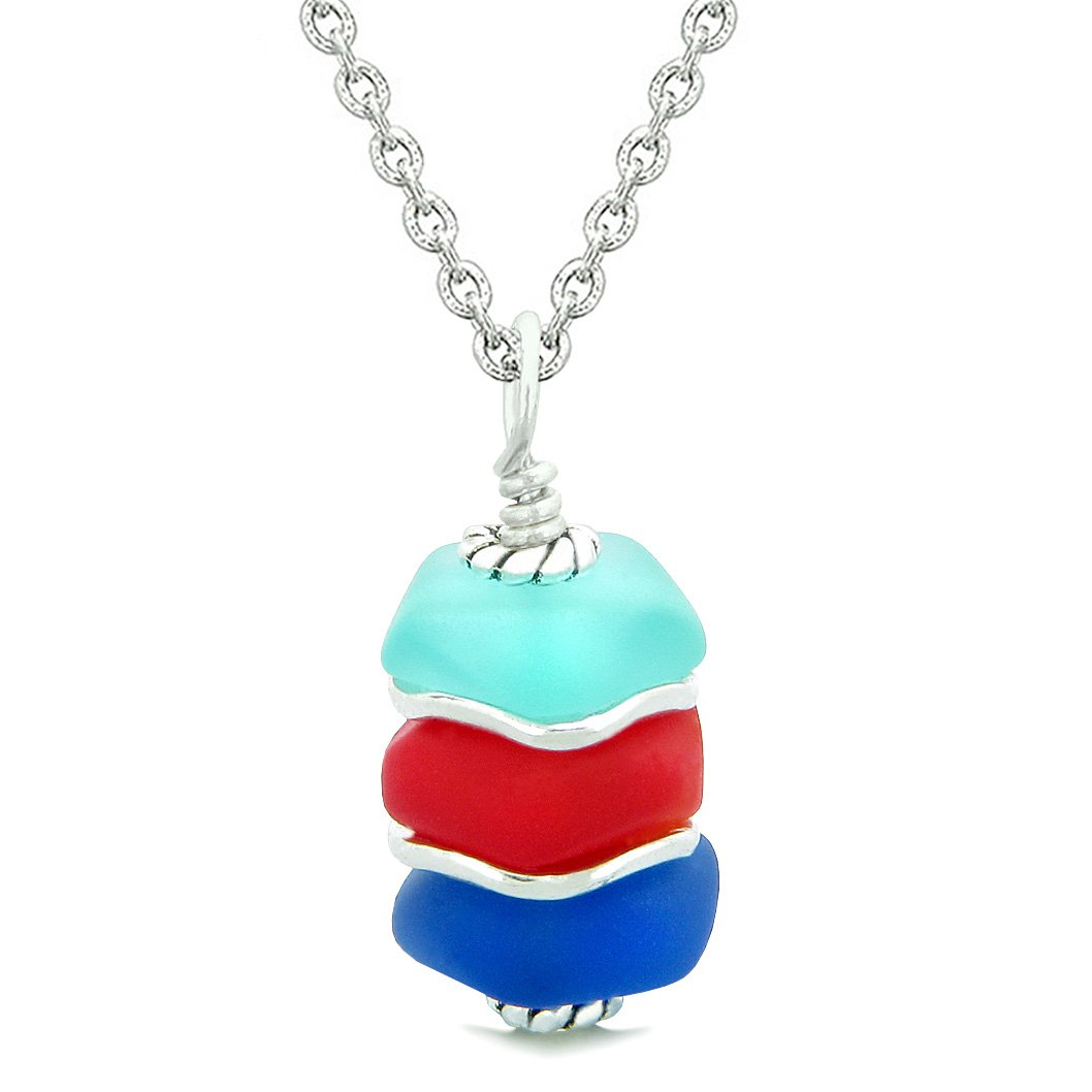 Sea Glass Icy Frosted Waves Ocean Aqua Blue Royal Red Positive Powers Amulet Pendant 22 Inch Necklace