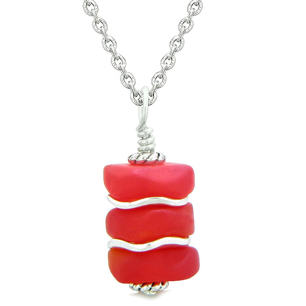 Sea Glass Icy Frosted Waves Royal Red Positive Powers Amulet Pendant 18 Inch Necklace