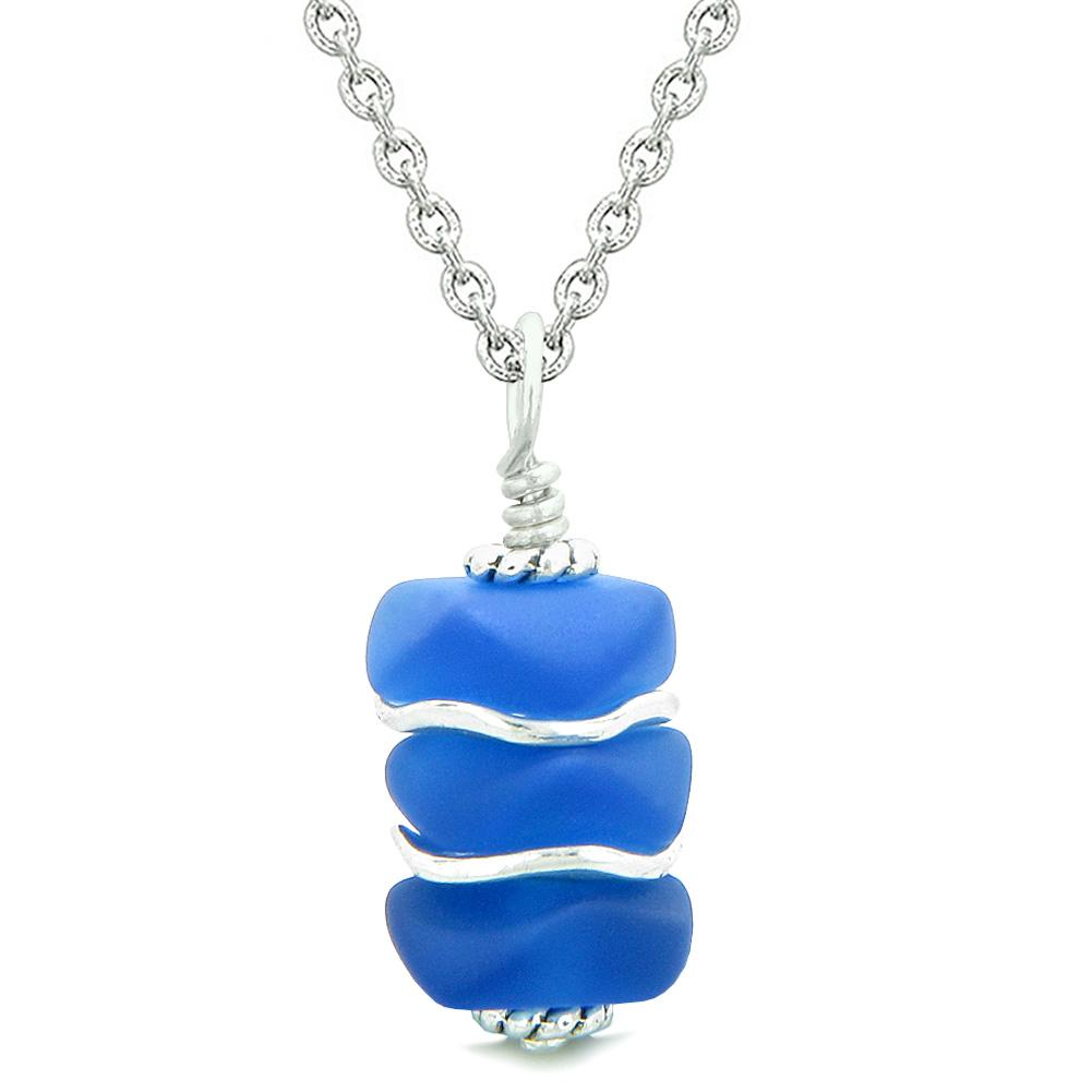 Sea Glass Icy Frosted Waves Ocean Blue Positive Powers Amulet Pendant 22 Inch Necklace