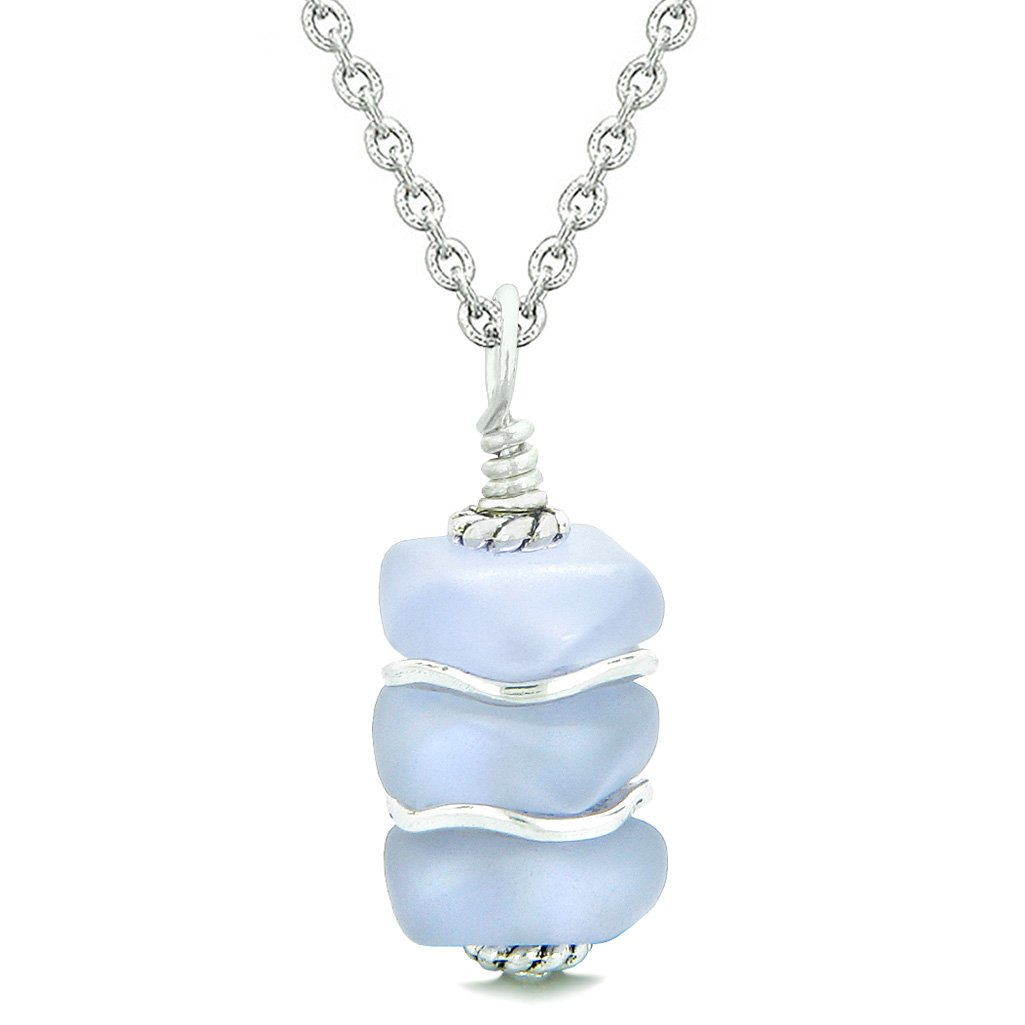 Sea Glass Icy Frosted Waves Pastel Purple Positive Powers Amulet Pendant 18 Inch Necklace