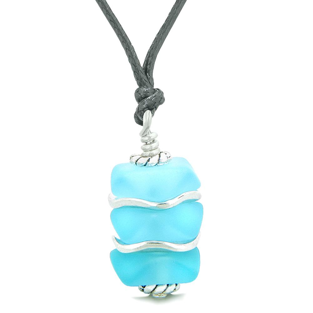 Sea Glass Icy Frosted Waves Sky Blue Positive Powers Amulet Pendant Adjustable Necklace