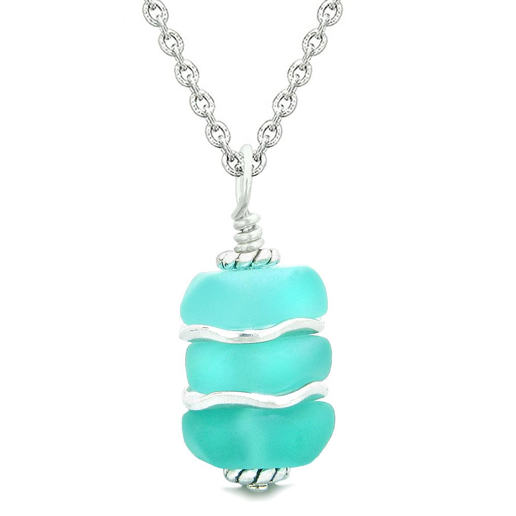 Sea Glass Icy Frosted Waves Aqua Blue Positive Powers Amulet Pendant 18 Inch Necklace
