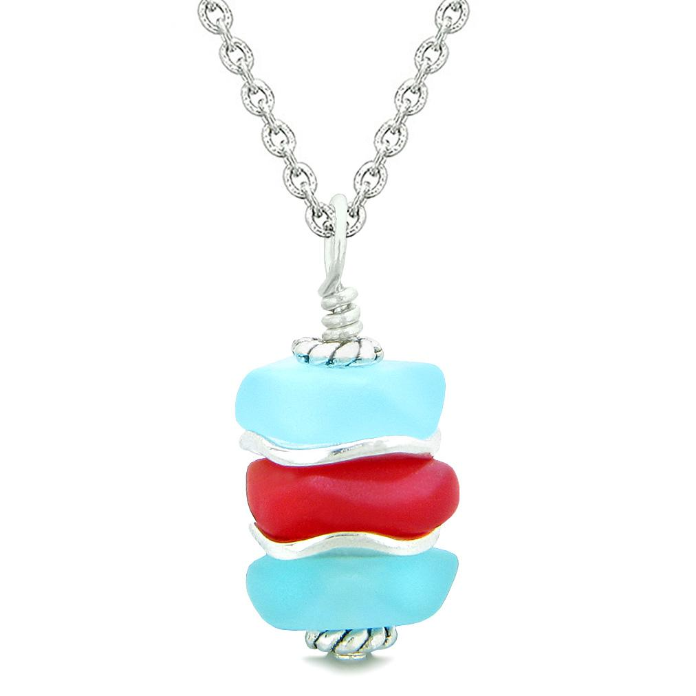 Sea Glass Icy Frosted Waves Sky Blue Royal Red Positive Powers Amulet Pendant 18 Inch Necklace