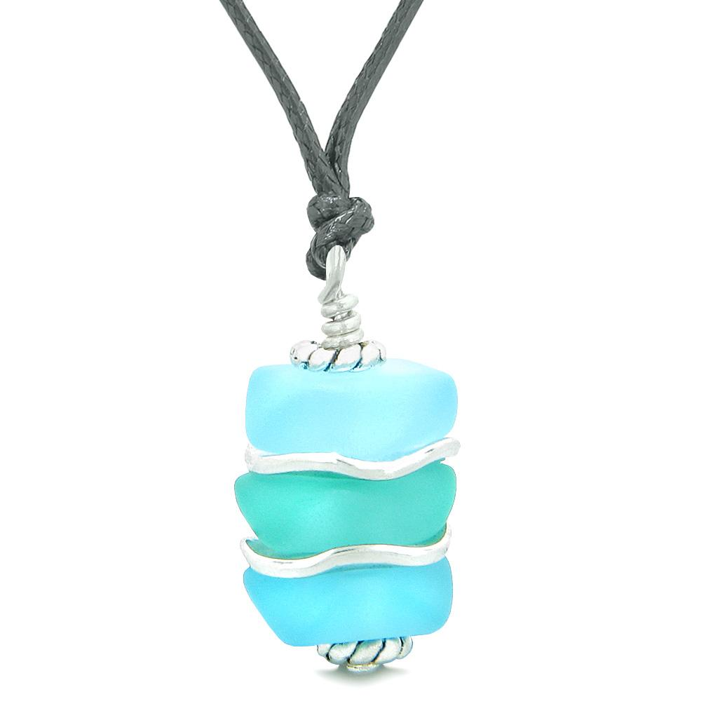 Sea Glass Icy Frosted Waves Aqua and Sky Blue Positive Powers Amulet Pendant Adjustable Necklace