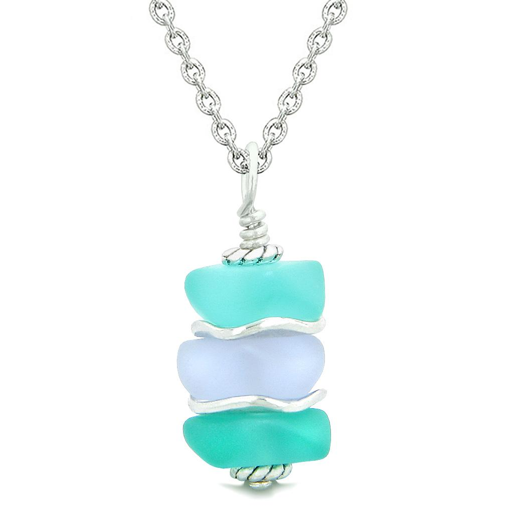 Sea Glass Icy Frosted Waves Aqua Blue Pastel Purple Positive Powers Amulet Pendant 18 Inch Necklace