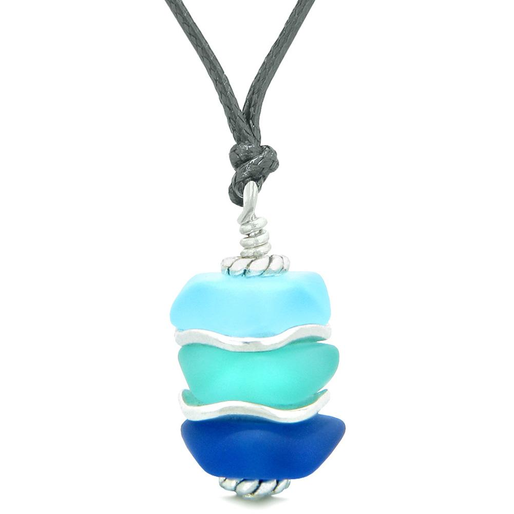 Sea Glass Icy Frosted Waves Aqua Sky and Ocean Blue Positive Powers Amulet Pendant Adjustable Necklace