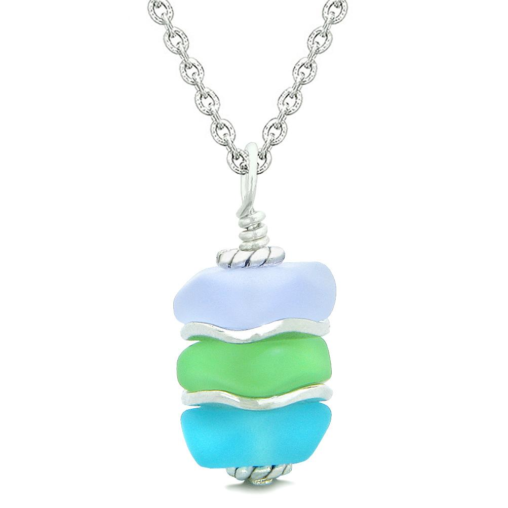 Sea Glass Icy Frosted Waves Purple Mint Green Sky Blue Positive Powers Amulet Pendant 18 Inch Necklace