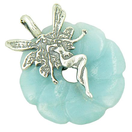 Fairy Angel Magic Good Luck Amulet Amazonite Silver Pendant