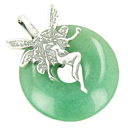 Fairy Angel Magic Money Amulet Aventurine Crystal Silver Pendant
