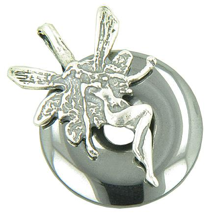 Fairy Angel Magic Protection Amulet Hematite Crystal Pendant